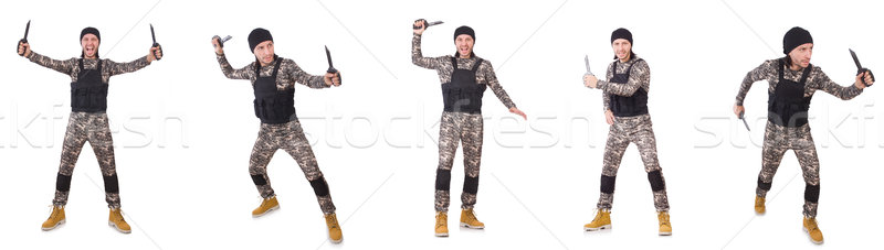 Soldier with knife isolated on white Stock photo © Elnur