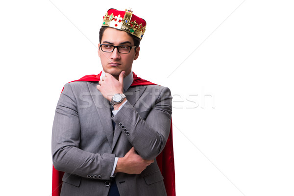 King businessman wearing red cover on white Stock photo © Elnur