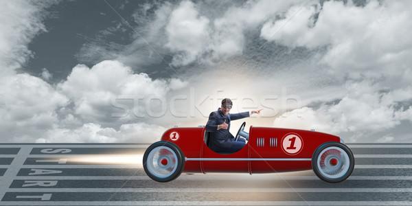 Zakenman paardrijden vintage roadster motivatie sport Stockfoto © Elnur