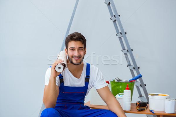 Szerelő rendbehoz javítás ház papír tapéta Stock fotó © Elnur