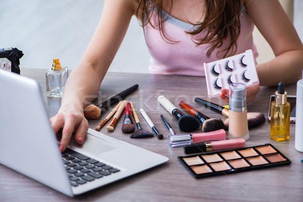 ストックフォト: ファッション · ブロガー · 化粧 · コンピュータ · 眼