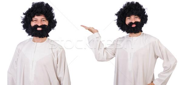Haarig funny Mann isoliert weiß Lächeln Stock foto © Elnur