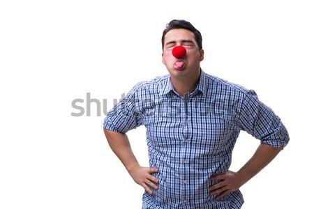 смешные человека клоуна изолированный белый вечеринка Сток-фото © Elnur