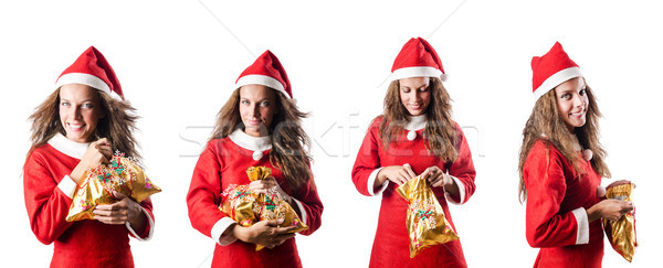 Santa girl with giftboxes on white Stock photo © Elnur
