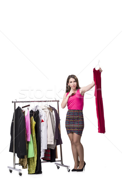 Woman choosing clothing in shop isolated on white Stock photo © Elnur