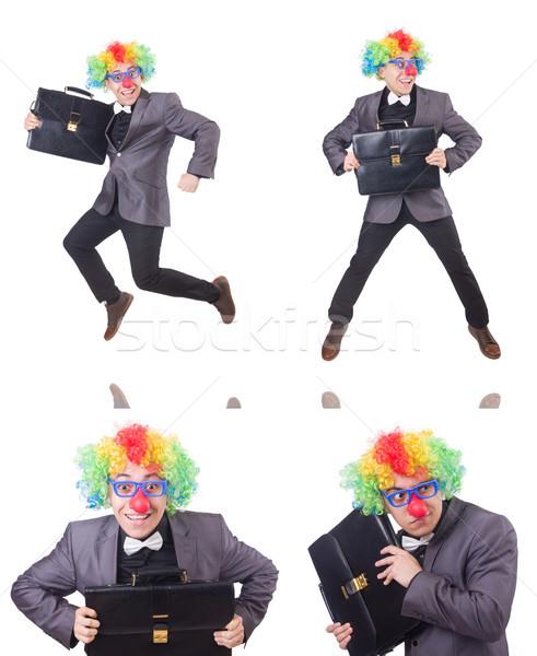 Clown zakenman geïsoleerd witte business partij Stockfoto © Elnur