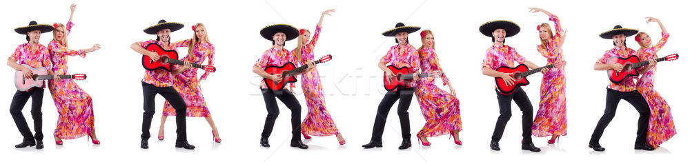 The spanish pair playing guitar and dancing Stock photo © Elnur