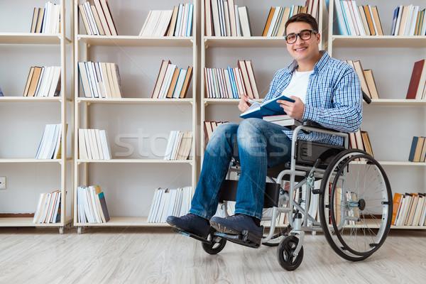 Inválido estudante estudar biblioteca homem trabalhando Foto stock © Elnur