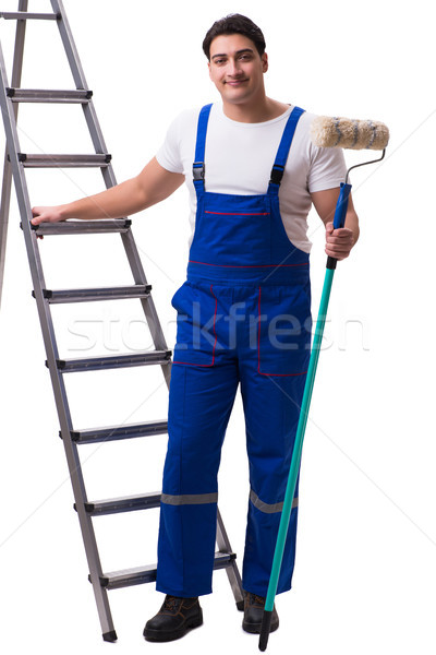 Young painter contractor isolated on white background Stock photo © Elnur