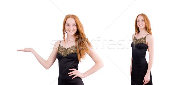Dziewczyna elegancki czarny mini sukienka odizolowany Zdjęcia stock © Elnur