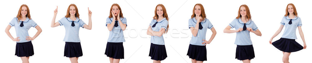 Schülerin isoliert weiß Lächeln Schule Körper Stock foto © Elnur