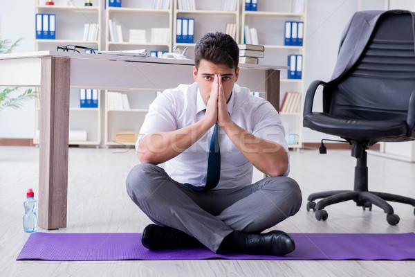 Adam meditasyon ofis stres bilgisayar spor Stok fotoğraf © Elnur
