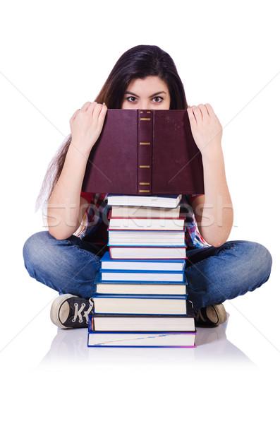 студент книгах изолированный белый улыбка счастливым Сток-фото © Elnur