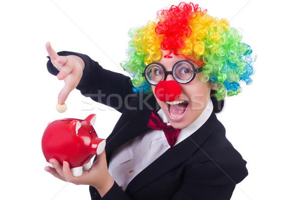 üzletember bohóc izolált fehér nő pénz Stock fotó © Elnur