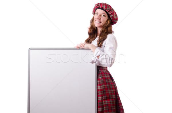 Scottish woman with board on white Stock photo © Elnur