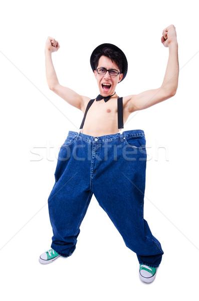 Stock fotó: Vicces · férfi · nadrág · izolált · fehér · egészség
