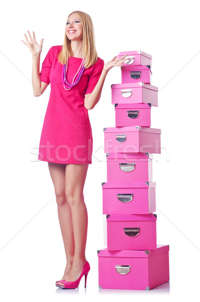 Woman with stack of giftboxes Stock photo © Elnur