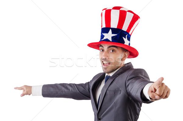 человека американский Hat изолированный белый Сток-фото © Elnur
