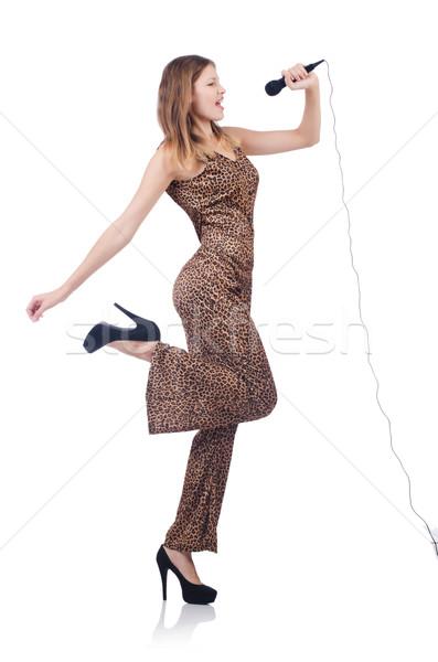 Mulher cantora microfone branco festa cabelo Foto stock © Elnur