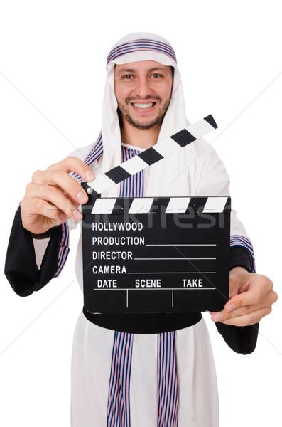 Arab man with movie clapper on white Stock photo © Elnur