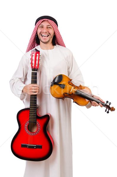 Arabes musicien violon guitare isolé blanche Photo stock © Elnur