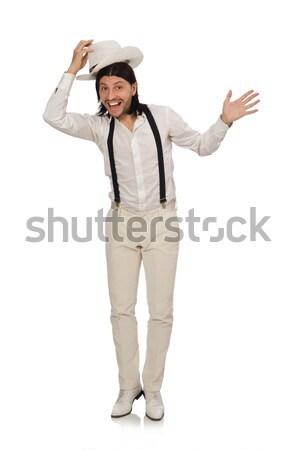 Cowboy odizolowany biały twarz człowiek moda Zdjęcia stock © Elnur