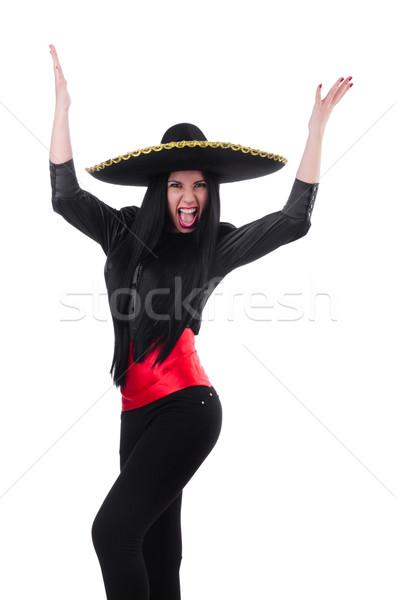 Meksika kadın yalıtılmış beyaz mutlu dansçı Stok fotoğraf © Elnur