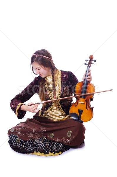 женщину играет скрипки белый музыку Dance Сток-фото © Elnur