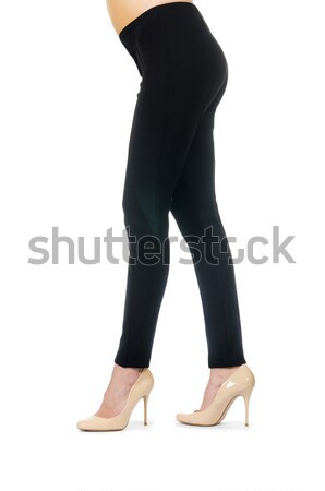 Woman legs wearing long stockings isolated on white Stock photo © Elnur