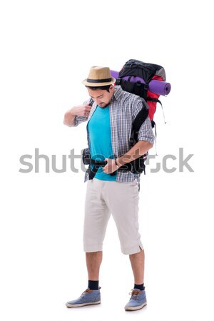 Woman trying to pack too much isolated on white Stock photo © Elnur