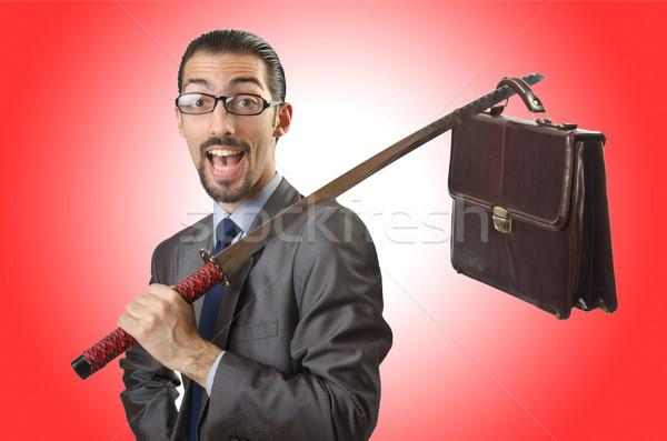 бизнесмен меч белый бизнеса человека фон Сток-фото © Elnur