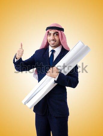 Funny man with axe on white Stock photo © Elnur