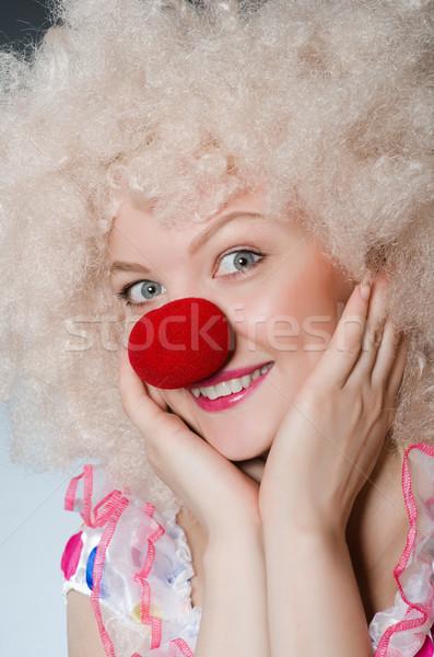 Photo stock: Clown · blanche · perruque · gris · sourire · anniversaire