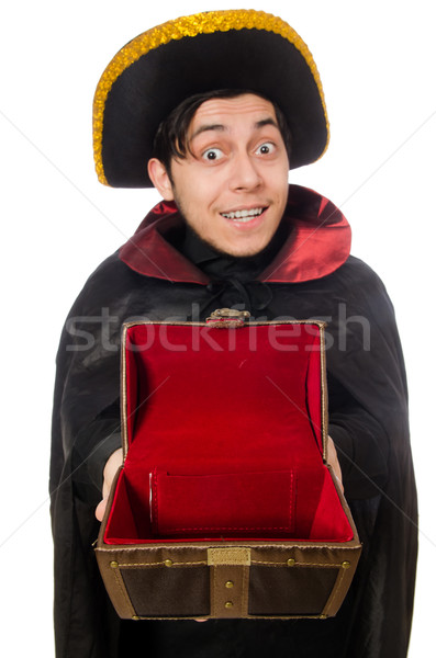 Young pirate holding chest box isolated on white Stock photo © Elnur