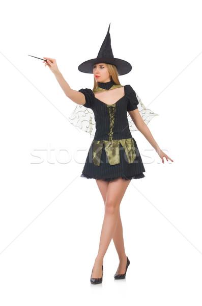 Kobieta magik strony tle garnitur czarny Zdjęcia stock © Elnur