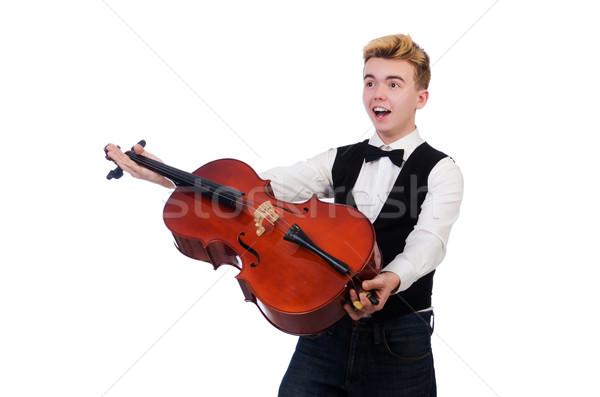Divertente uomo violino bianco arte concerto Foto d'archivio © Elnur