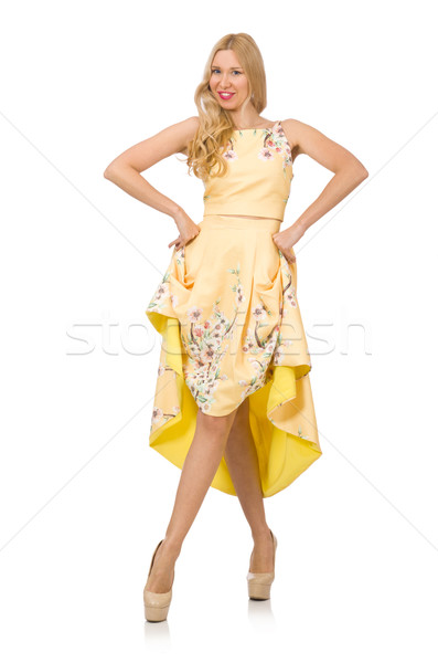 Blond girl in charming dress with flower prints isolated on whit Stock photo © Elnur