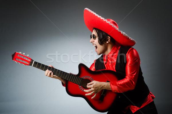 Mexikói gitáros piros buli diszkó jókedv Stock fotó © Elnur