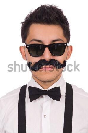 Jonge man snor geïsoleerd witte man mode Stockfoto © Elnur