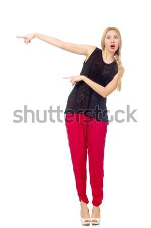 Stock photo: Woman doing exercises on white