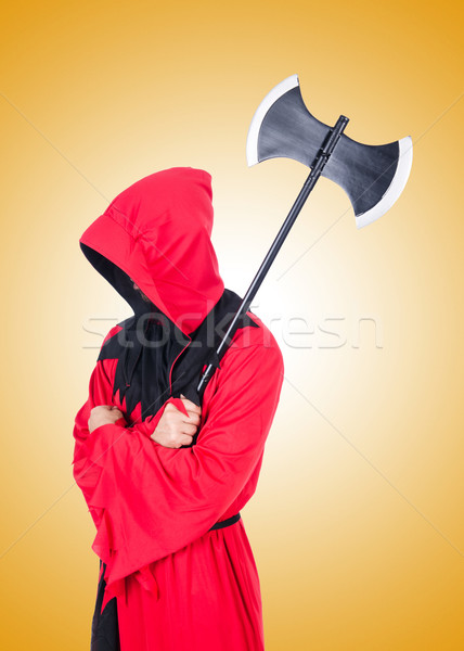 Executioner in red costume with axe on white Stock photo © Elnur