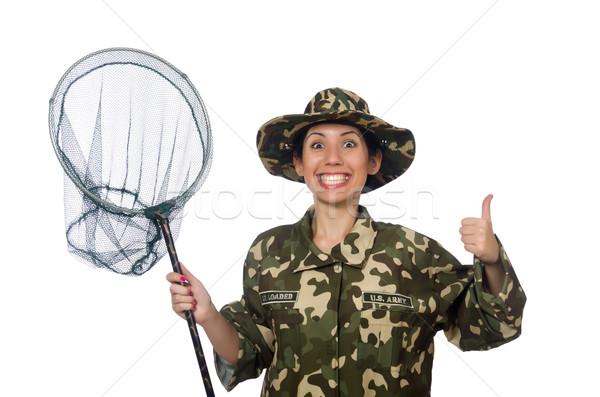 Nő katonaság ruházat net tavasz mosoly Stock fotó © Elnur