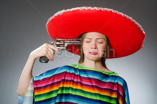 девушки мексиканских яркий пистолет серый Сток-фото © Elnur
