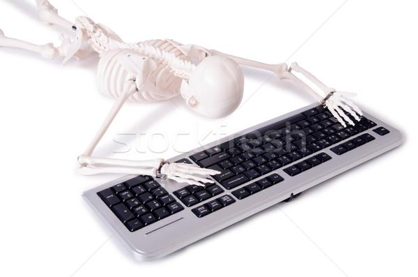 Engraçado esqueleto trabalhando computador negócio tecnologia Foto stock © Elnur