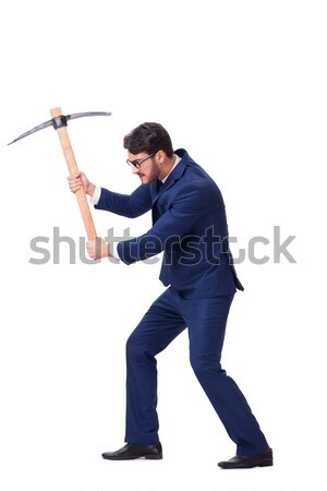 Stock photo: Angry man with axe isolated on white