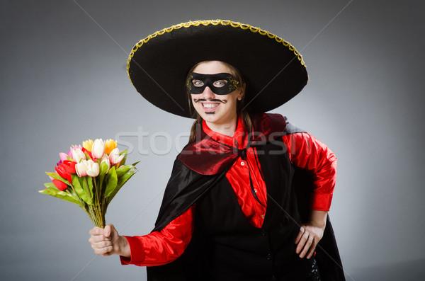 Pessoa sombrero seis engraçado flores Foto stock © Elnur