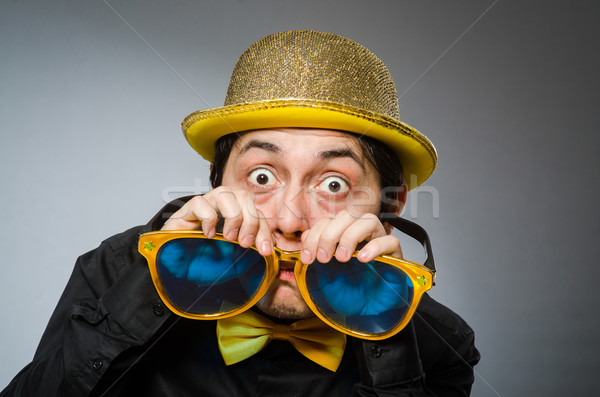 Funny man with vintage hat Stock photo © Elnur