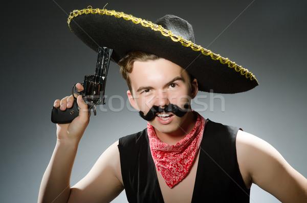 Engraçado cara sombrero seis homem Foto stock © Elnur