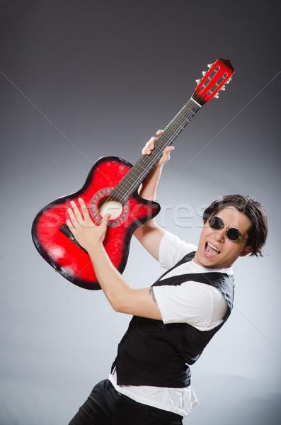 Divertente chitarrista musicale musica chitarra discoteca Foto d'archivio © Elnur