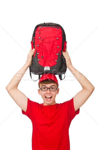 Jóvenes viajero mochila aislado blanco hombre Foto stock © Elnur